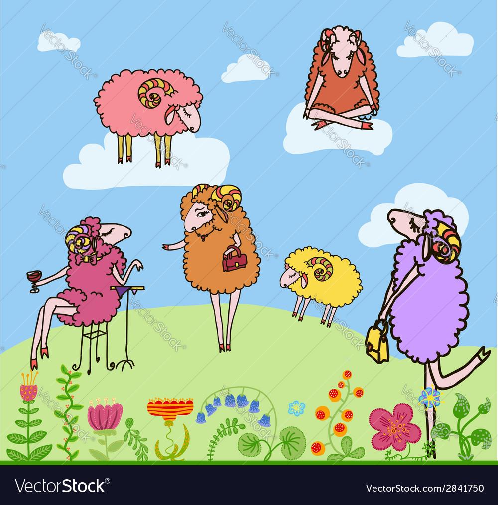Nice set of cartoon sheep vector | Price: 1 Credit (USD $1)