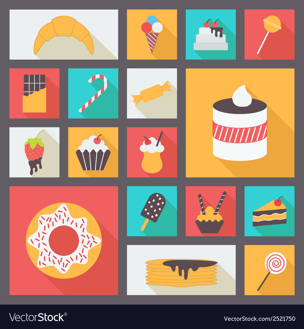 Set of various sweets for restaurant and menu flat vector | Price: 1 Credit (USD $1)