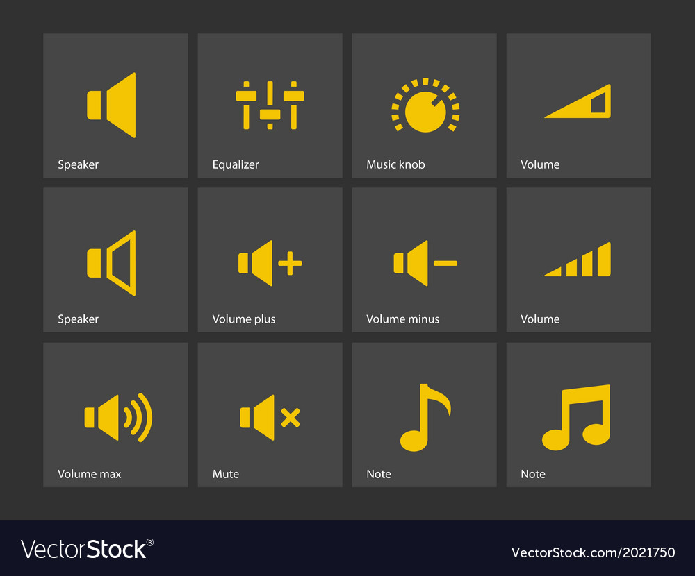 Speaker icons volume control vector | Price: 1 Credit (USD $1)
