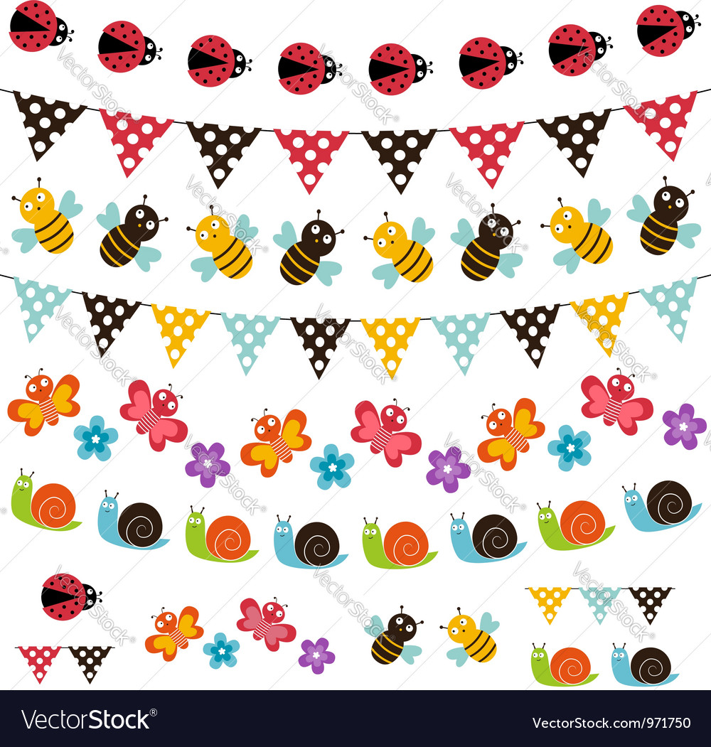 Summer garden garland set vector | Price: 1 Credit (USD $1)