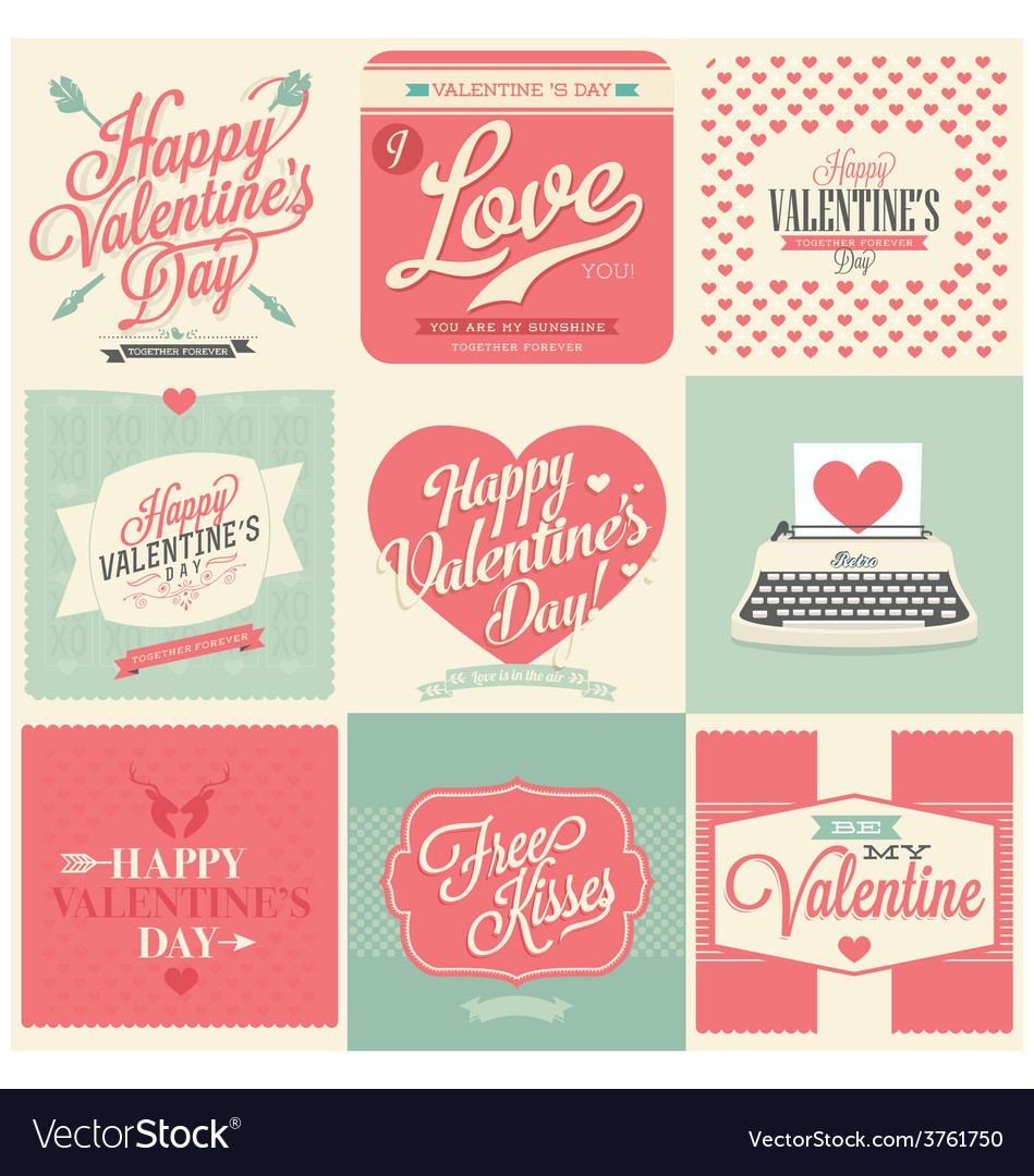 Vintage styled valentines day card vector | Price: 1 Credit (USD $1)