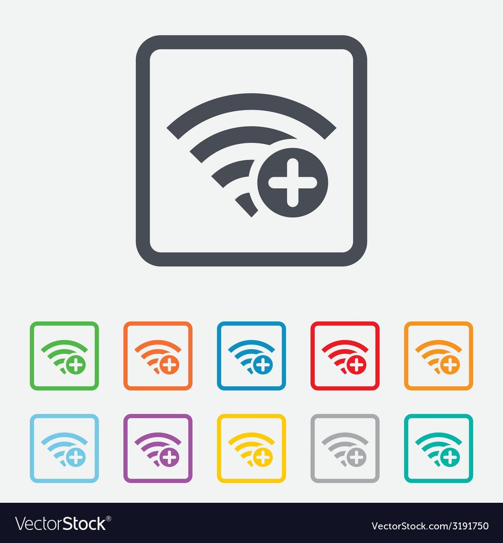 Wifi plus sign add wi-fi symbol wireless vector   Price: 1 Credit (USD $1)