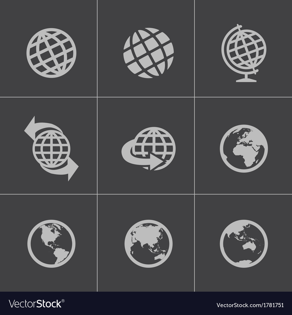 Black globe icons set vector | Price: 1 Credit (USD $1)