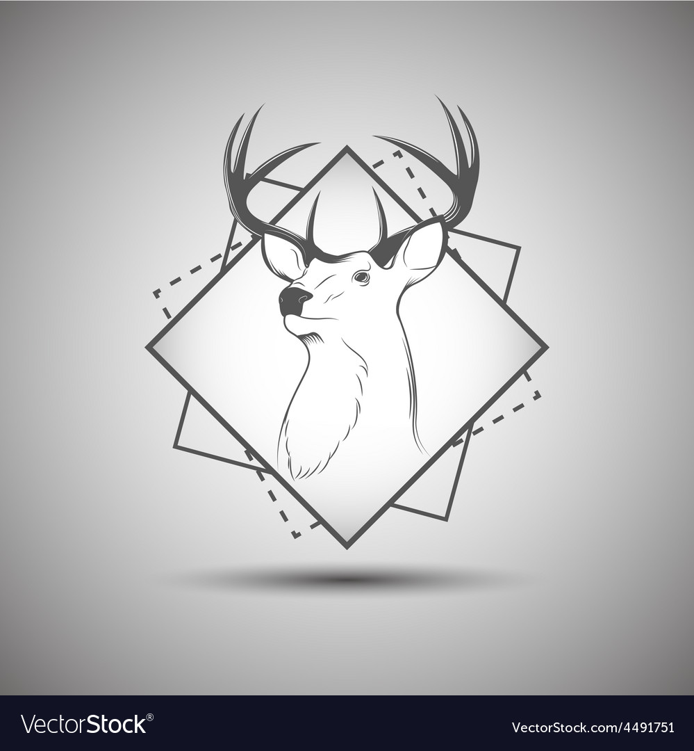 Deer head logo isolated on white background vector | Price: 1 Credit (USD $1)