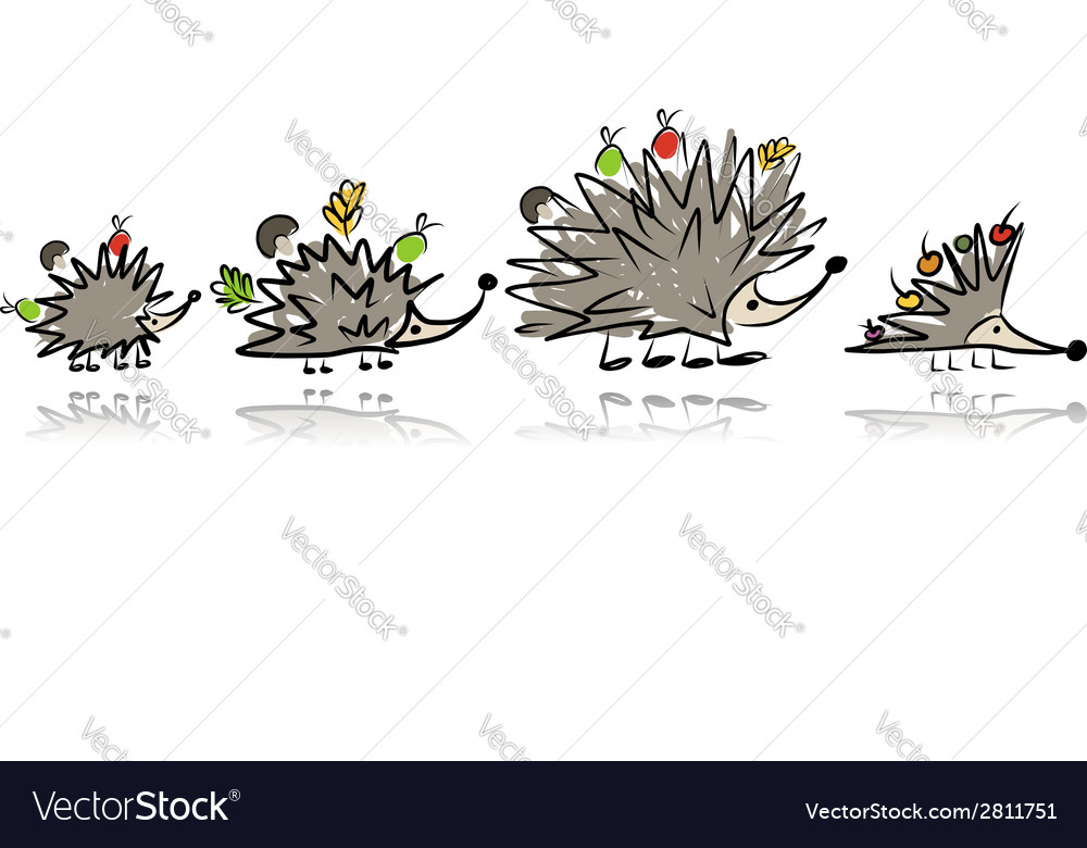 Funny hedgehog family sketch for your design vector | Price: 1 Credit (USD $1)