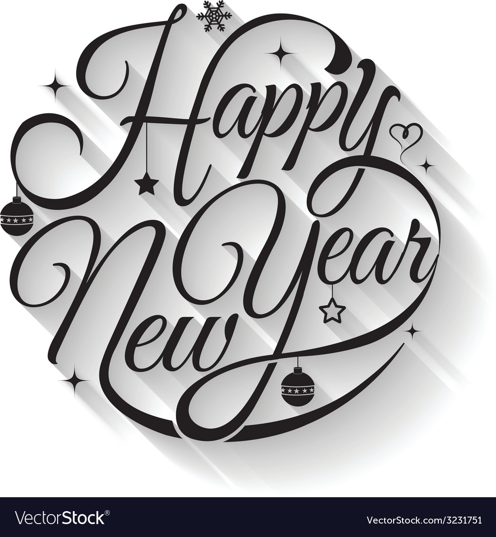 Happy new year text circle vector | Price: 1 Credit (USD $1)