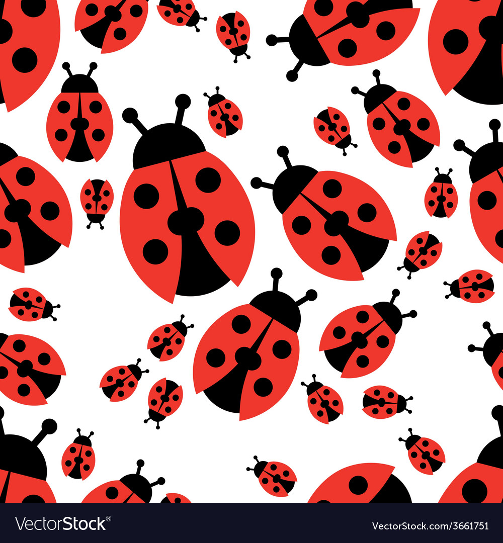 Ladybird seamless pattern vector | Price: 1 Credit (USD $1)