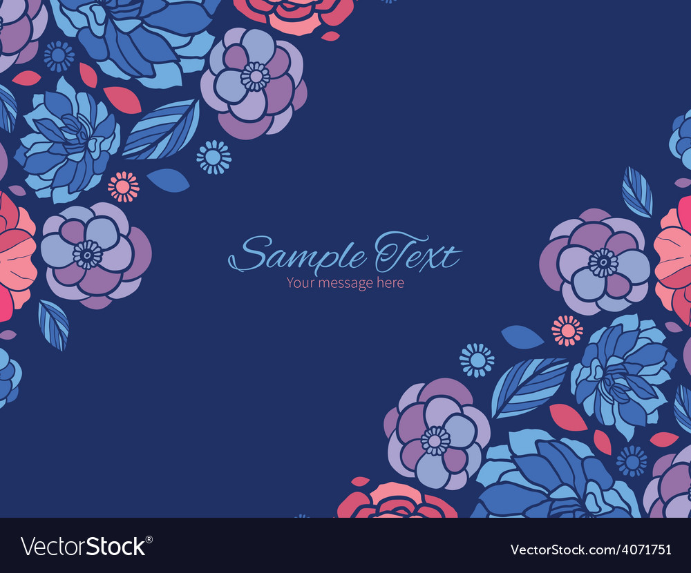 Mosaic flowers horizontal double corners vector | Price: 1 Credit (USD $1)