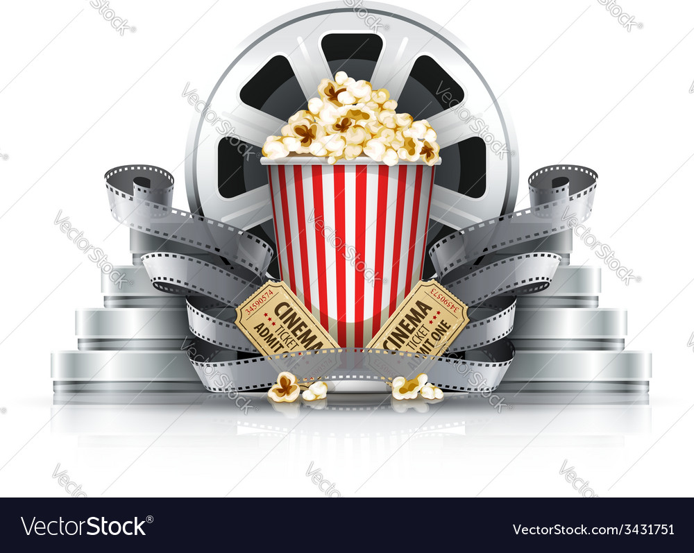 Popcorn filmstrips and disks vector