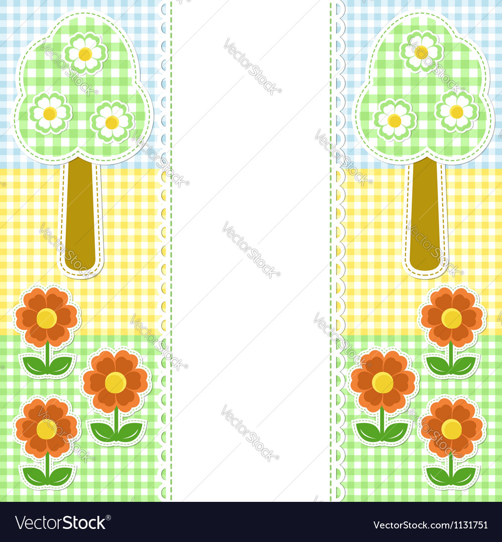 Spring frame with flowers on textile background vector | Price:  Credit (USD $)