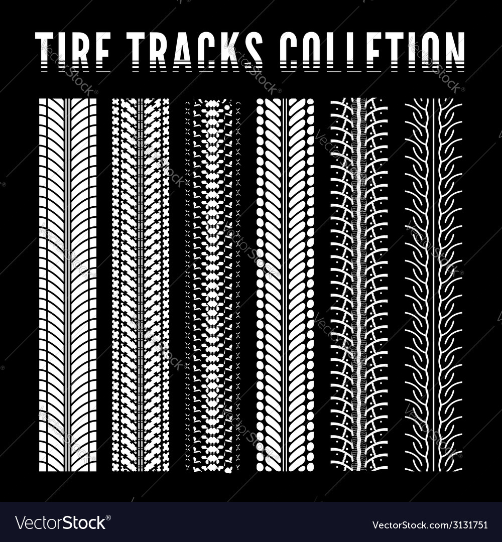 Tire track collection vector | Price: 1 Credit (USD $1)