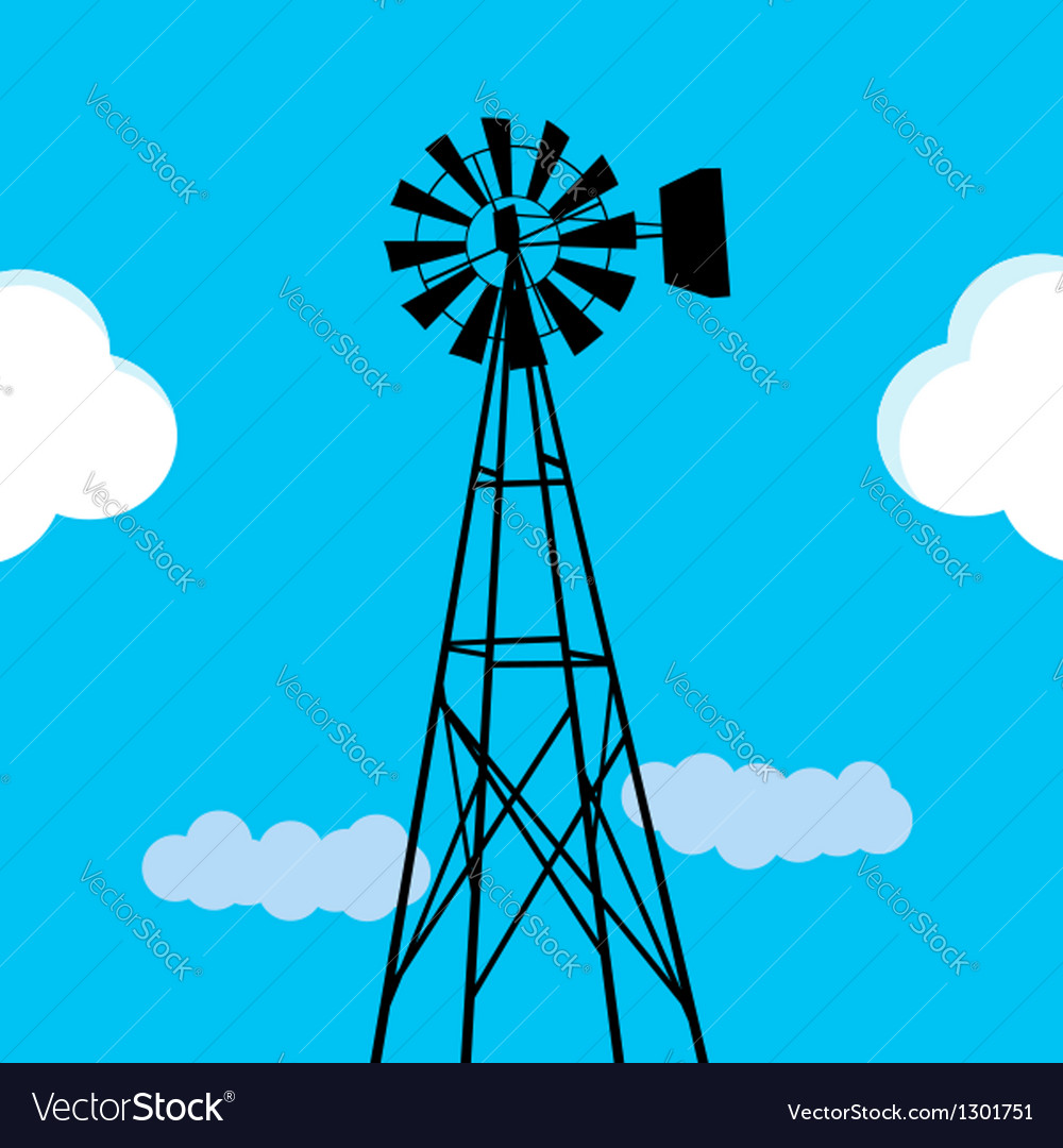 Water pumping windmill vector | Price: 1 Credit (USD $1)