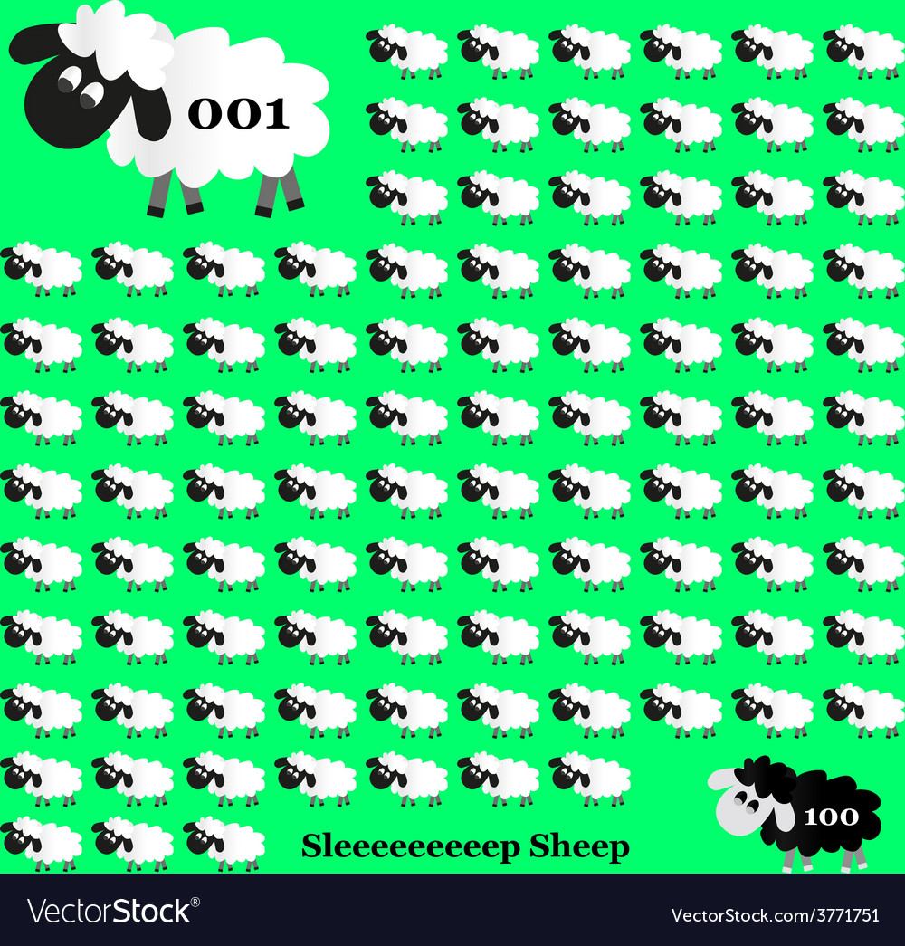 White and black sheep counting on green background vector | Price: 1 Credit (USD $1)