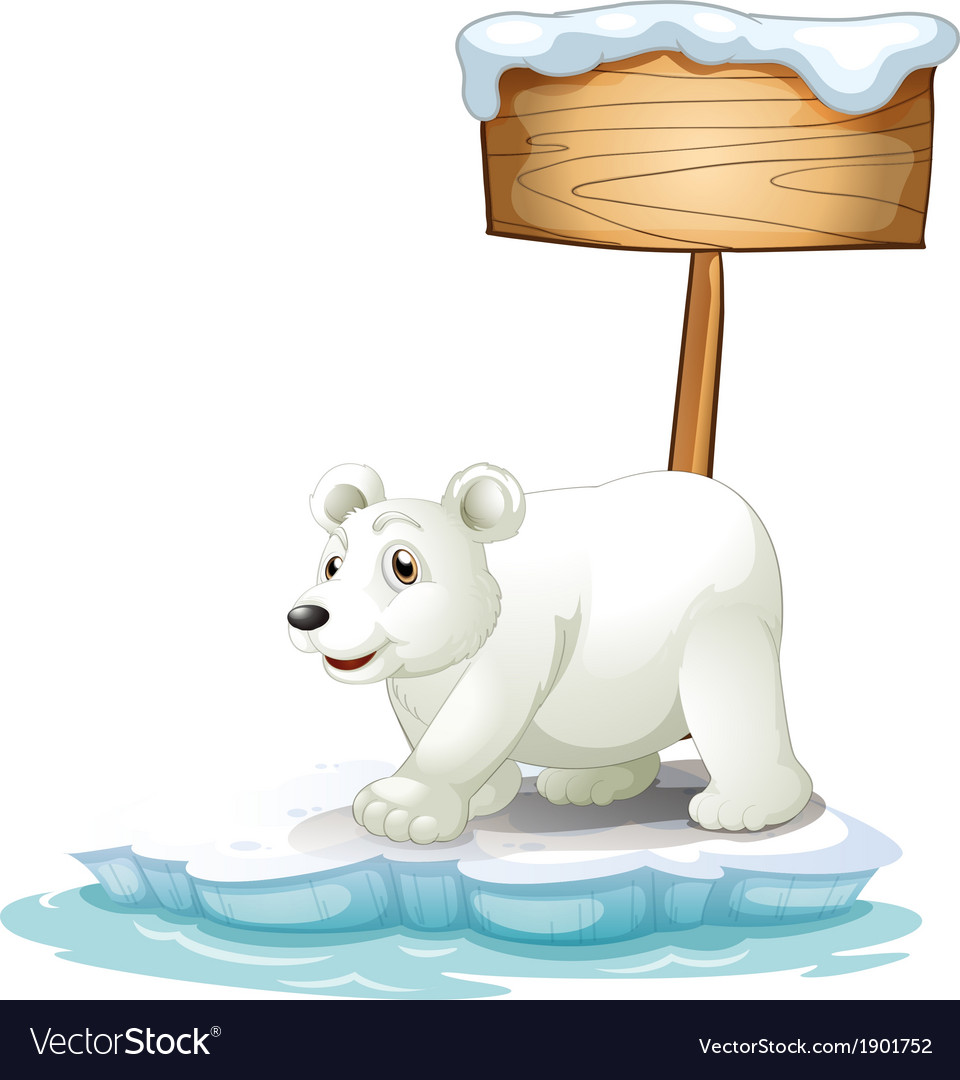 A white polar bear below the wooden signboard vector   Price: 3 Credit (USD $3)