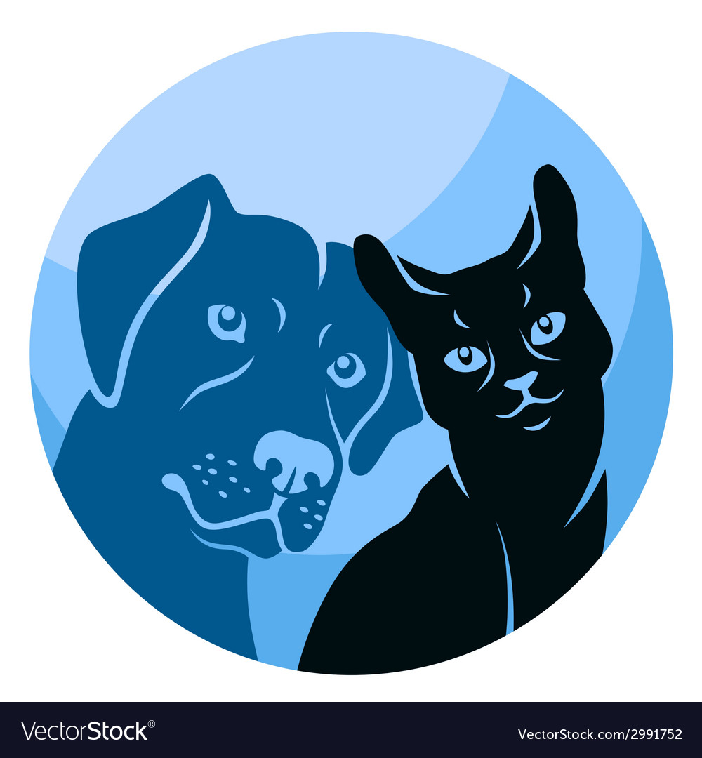 Abstract cat and dog circle vector | Price: 1 Credit (USD $1)