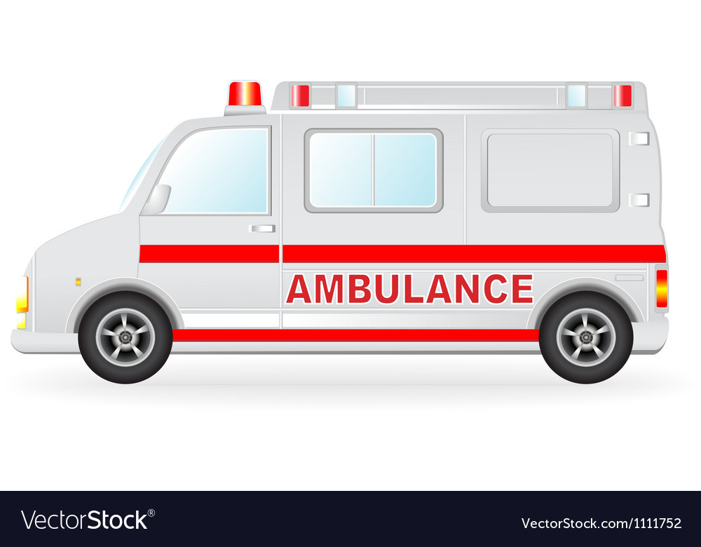 Ambulance car silhouette on white background vector | Price: 1 Credit (USD $1)
