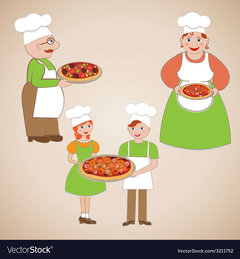 Family of chefs and delicious pizza vector | Price: 1 Credit (USD $1)