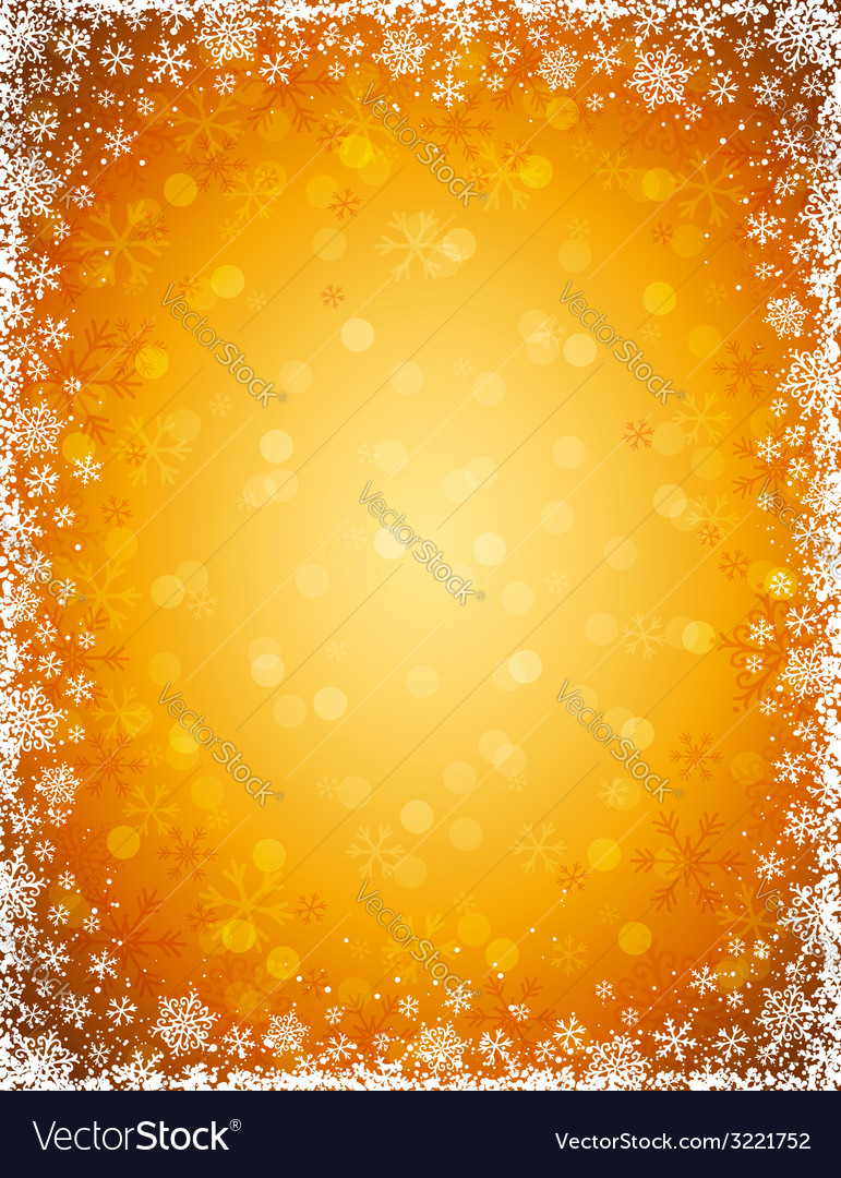 Golden background with frame of snowflakes vector | Price: 1 Credit (USD $1)