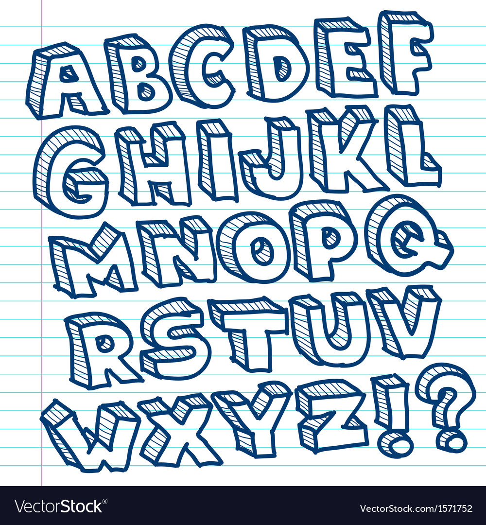 Hand drawn doodle alphabet vector | Price: 1 Credit (USD $1)
