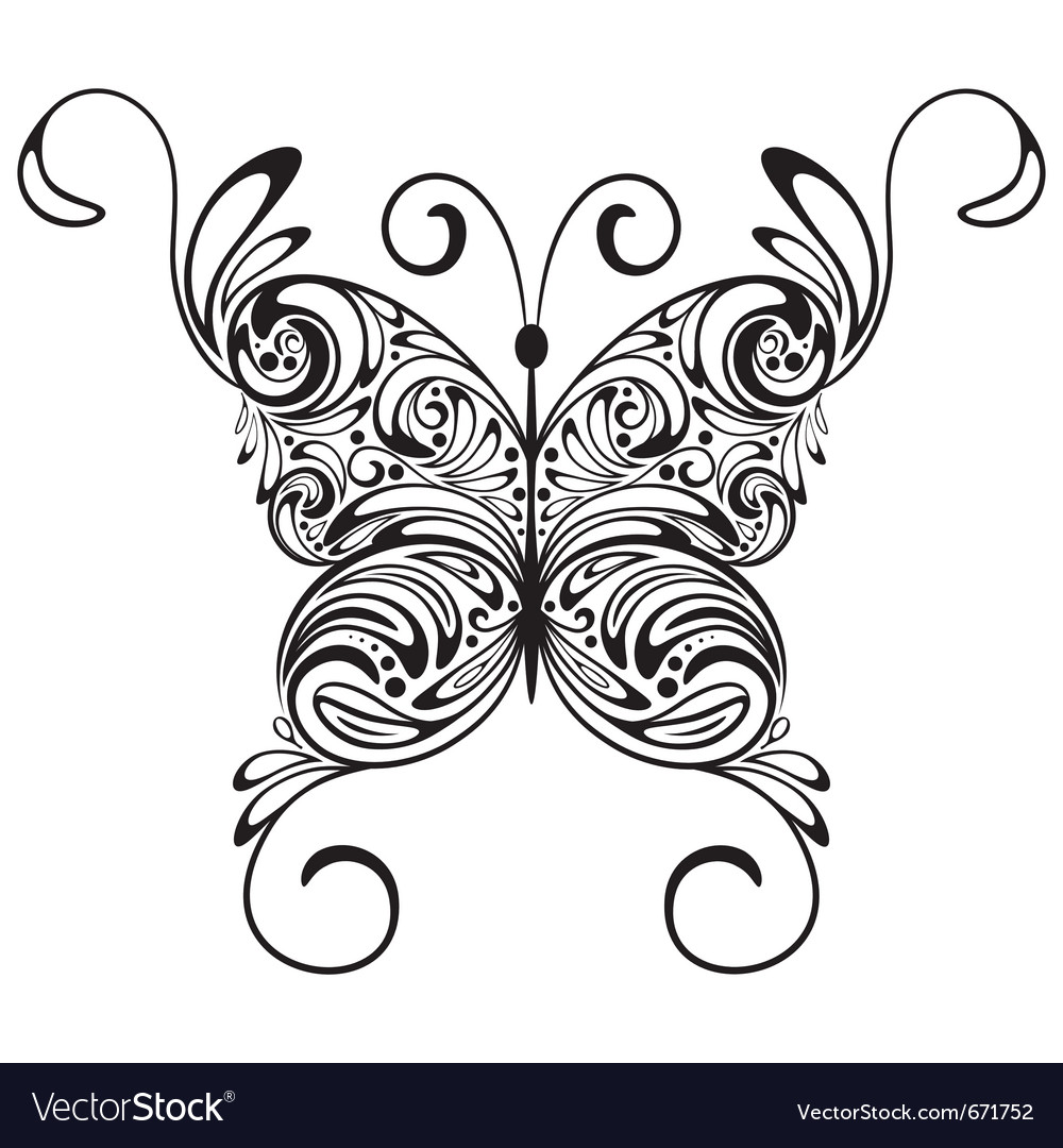 Monochrome tattoo butterfly vector | Price: 1 Credit (USD $1)