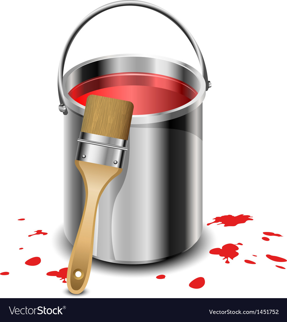 Paint bucket with paint brush vector | Price: 1 Credit (USD $1)