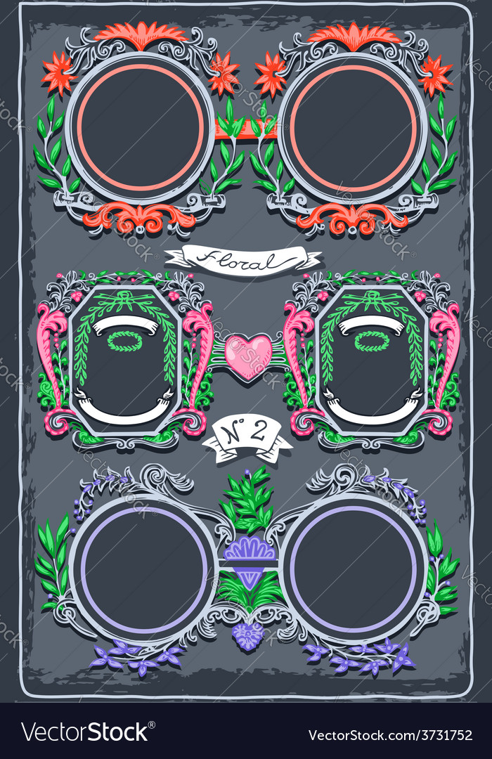 Set of six vintage graphic colored garlands vector | Price: 3 Credit (USD $3)