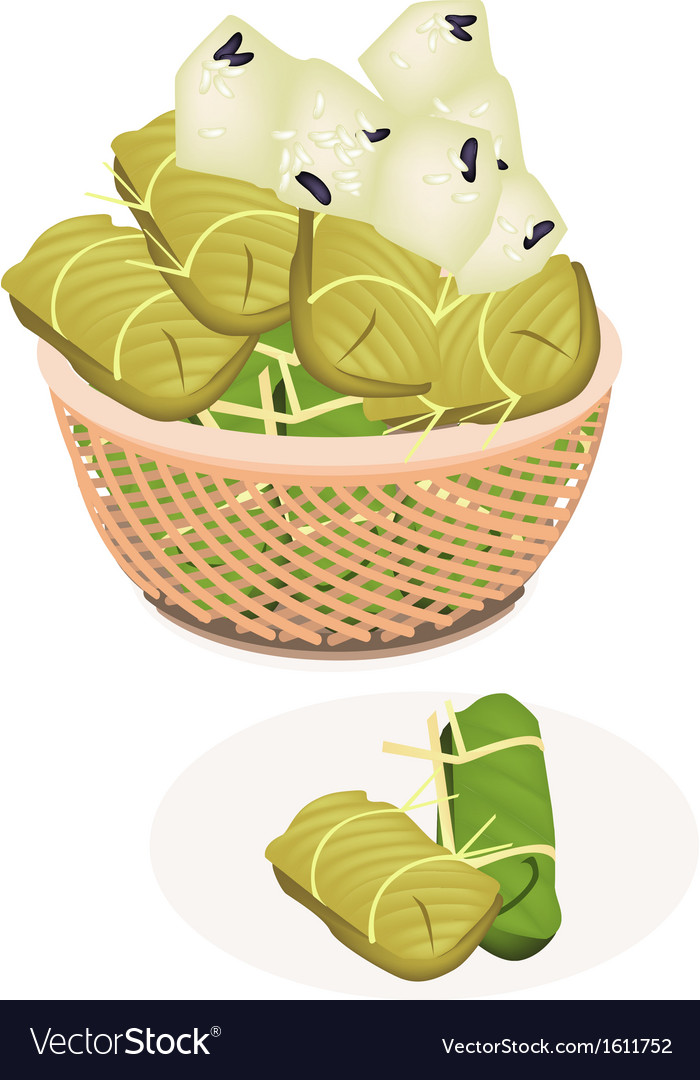 Steamed sticky rice with banana in a brown basket vector | Price: 1 Credit (USD $1)