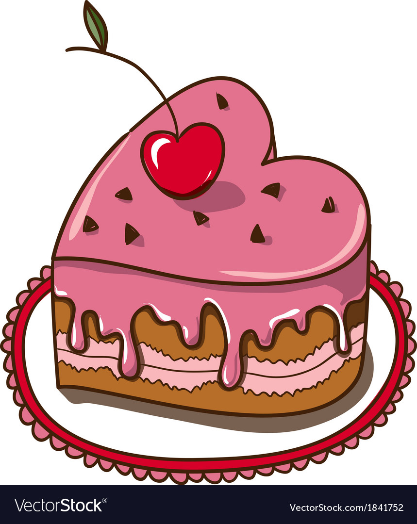 Sweet heart cake isolated on white vector | Price: 1 Credit (USD $1)