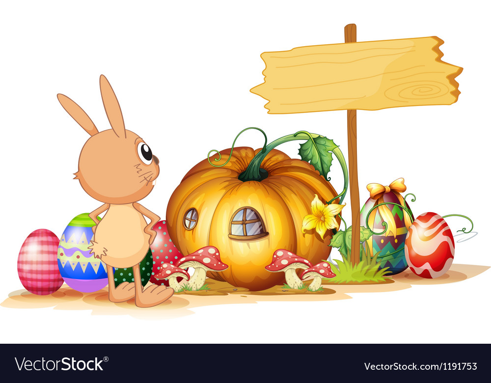 A rabbit easter eggs a pumpkin and an empty vector | Price: 1 Credit (USD $1)