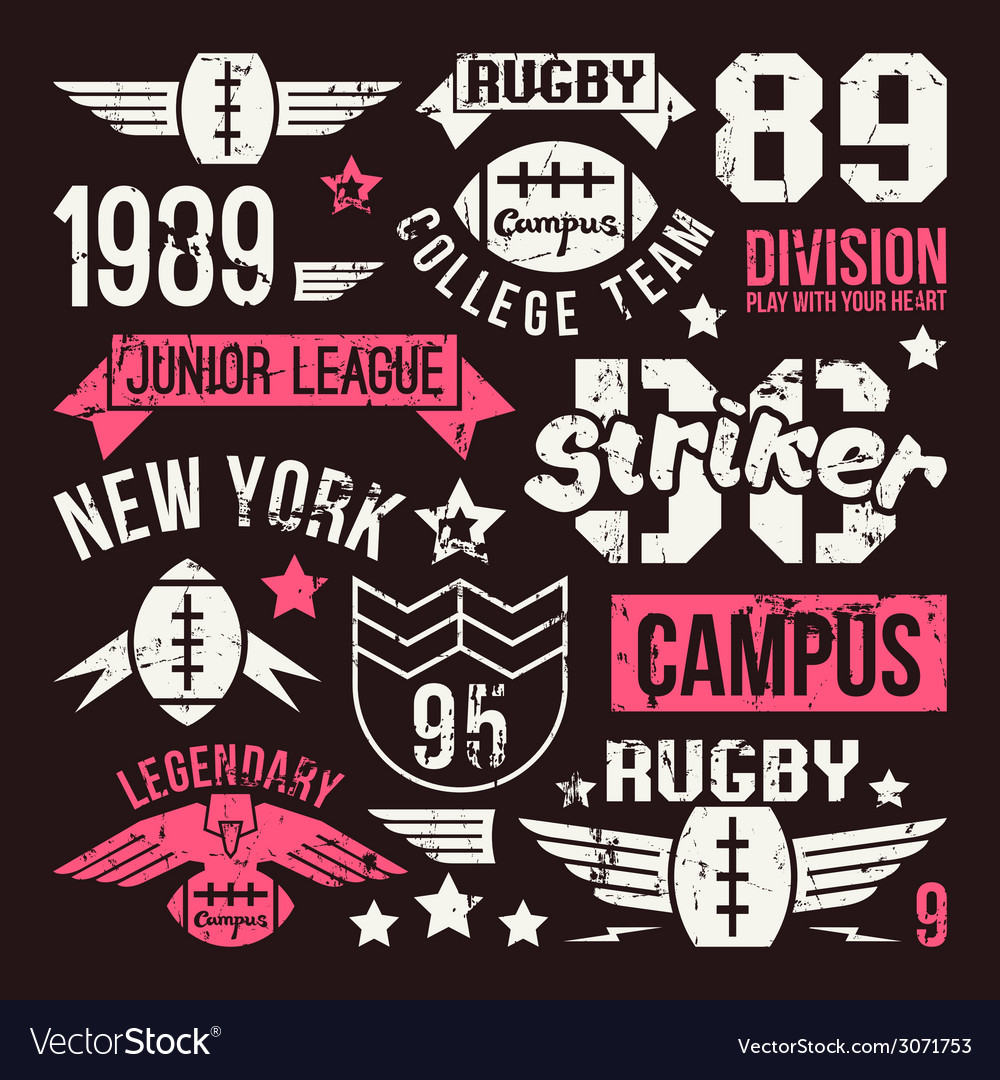 Badges set of the college rugby team vector | Price: 1 Credit (USD $1)