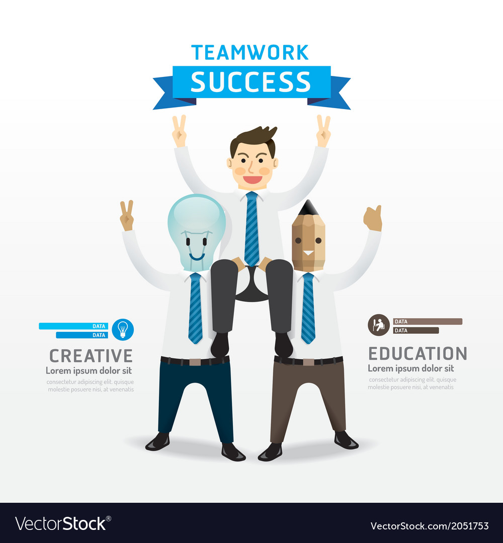 Businessman cartoon infographic teamwork of succes vector | Price: 1 Credit (USD $1)