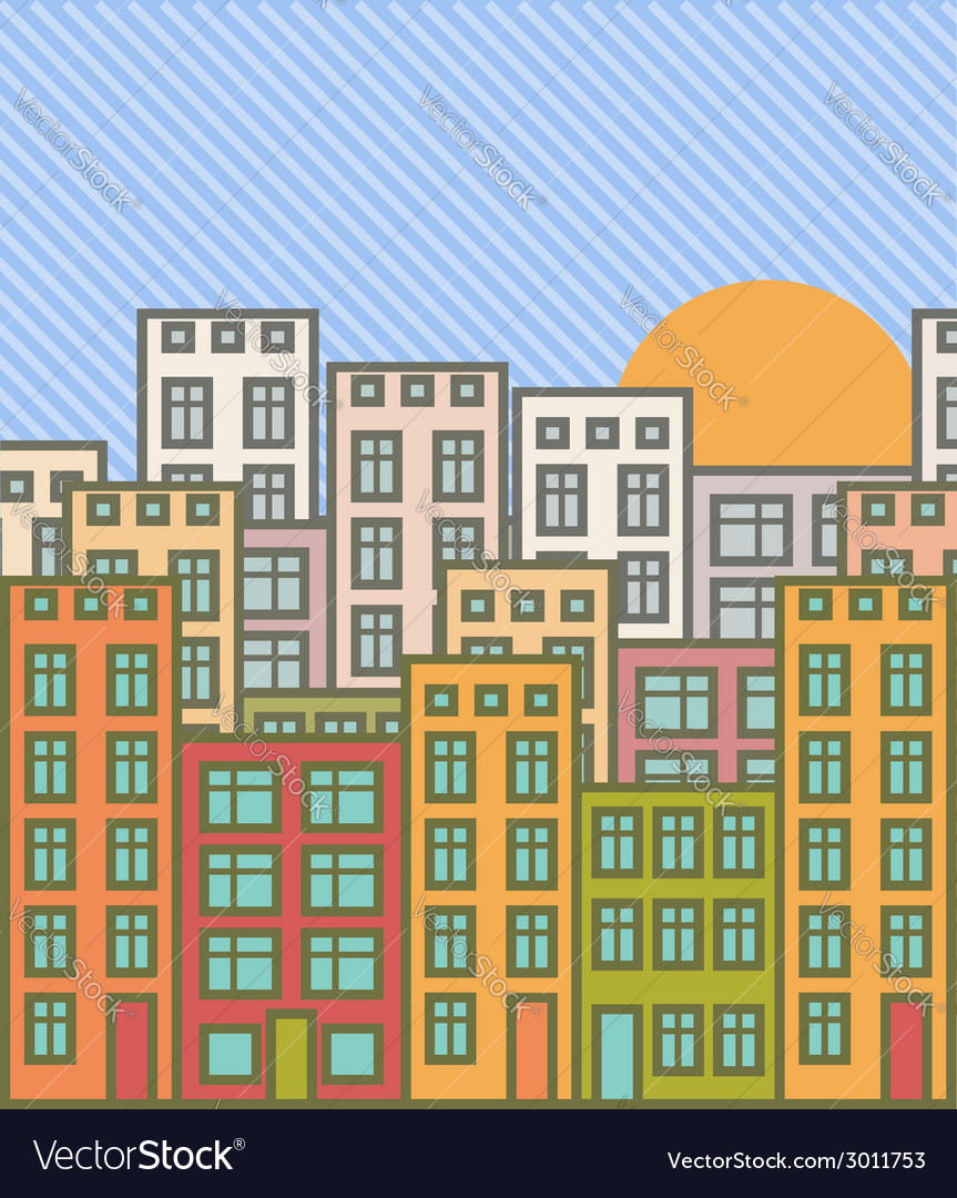 Cartoon cityscape vector | Price: 1 Credit (USD $1)