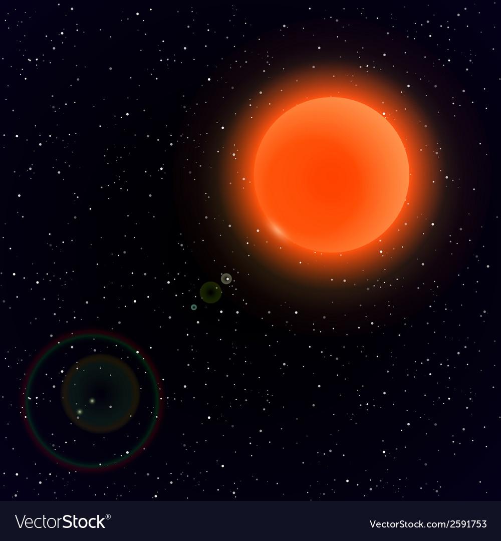 Cartoon sun in open space vector | Price: 1 Credit (USD $1)