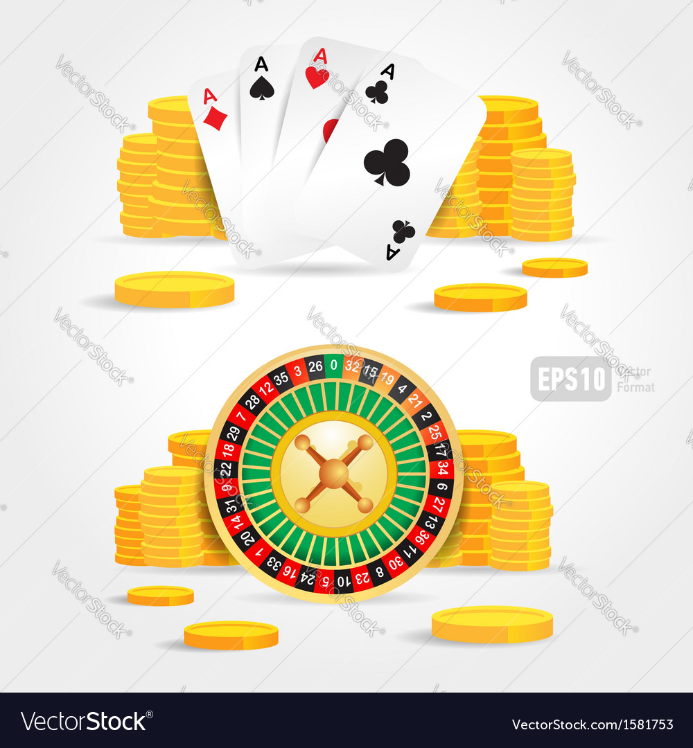 Casino roulette money poker cards game set vector | Price: 1 Credit (USD $1)