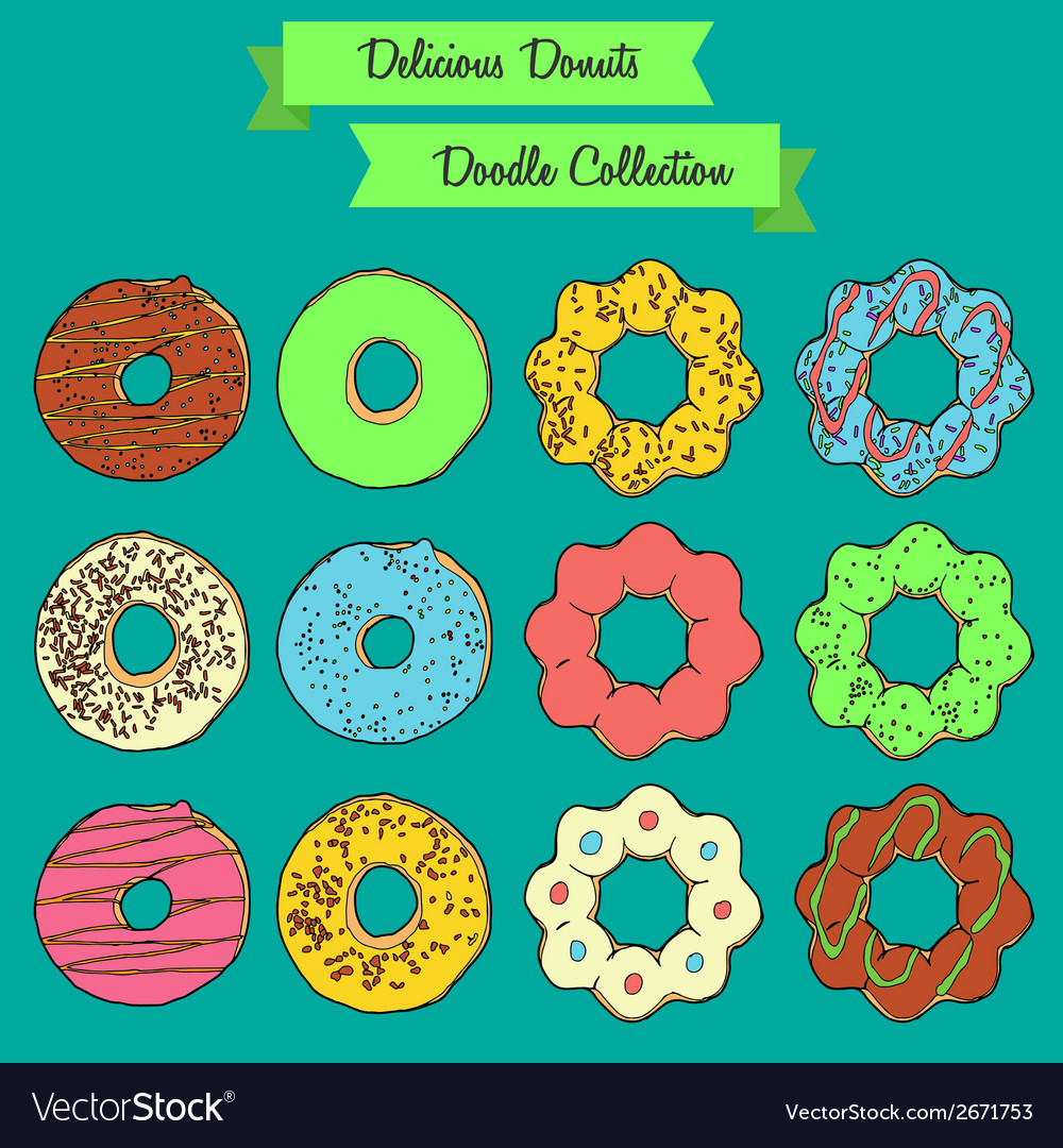 Delicious donuts doodle collection vector | Price: 1 Credit (USD $1)