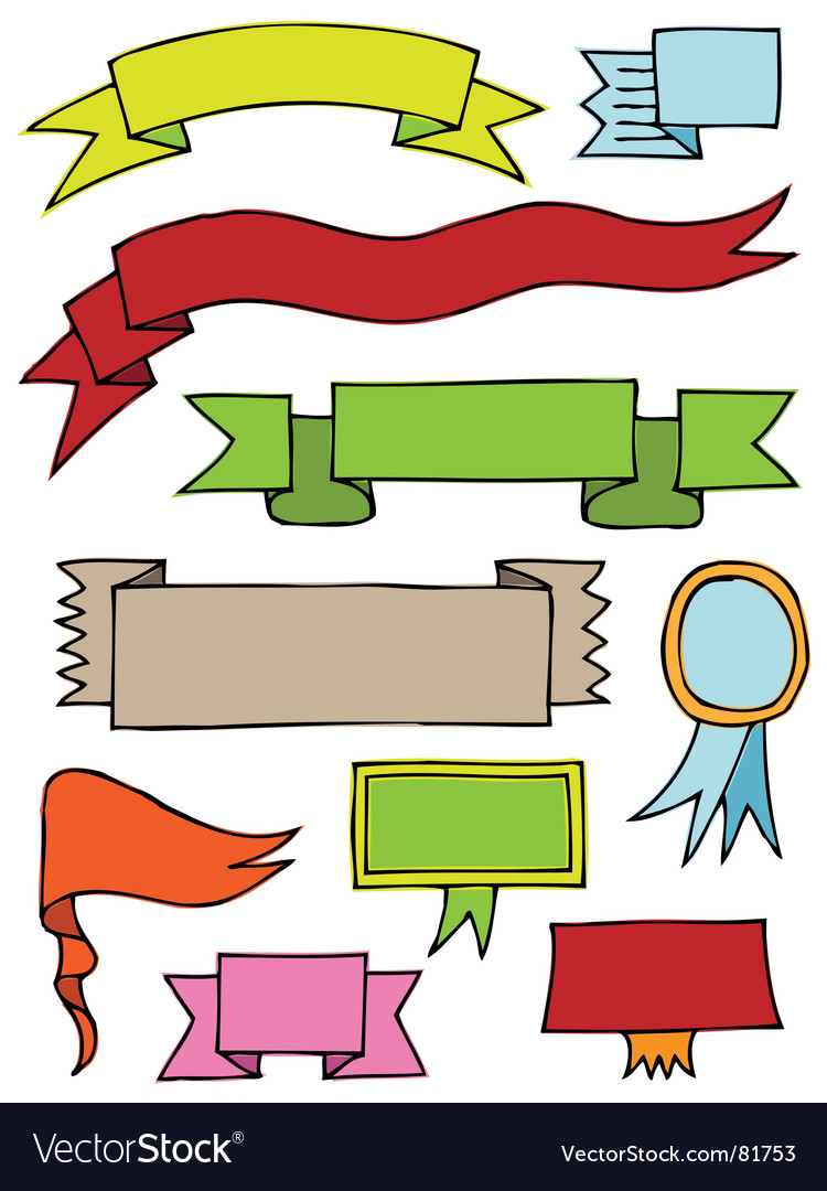 Hand drawn scroll banners vector