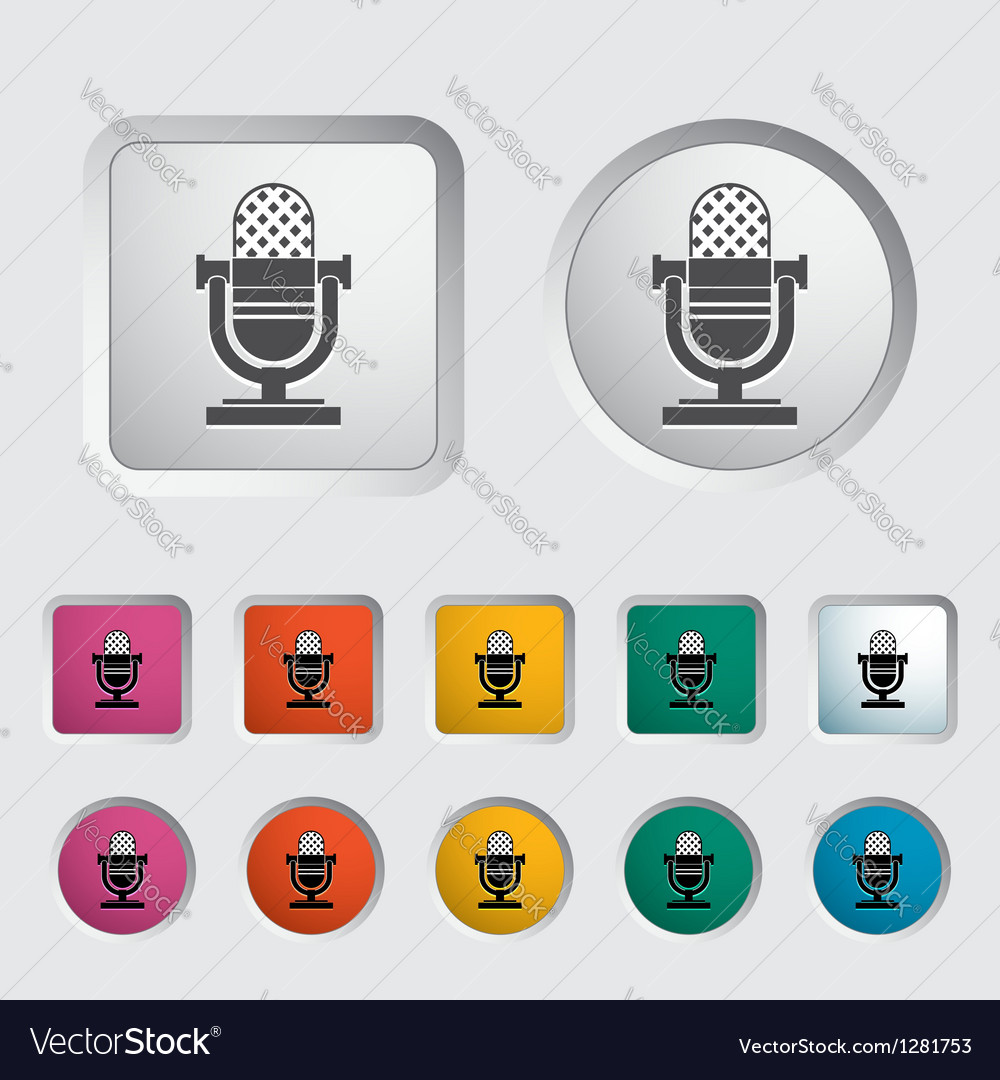 Icon vintage microphone vector | Price: 1 Credit (USD $1)