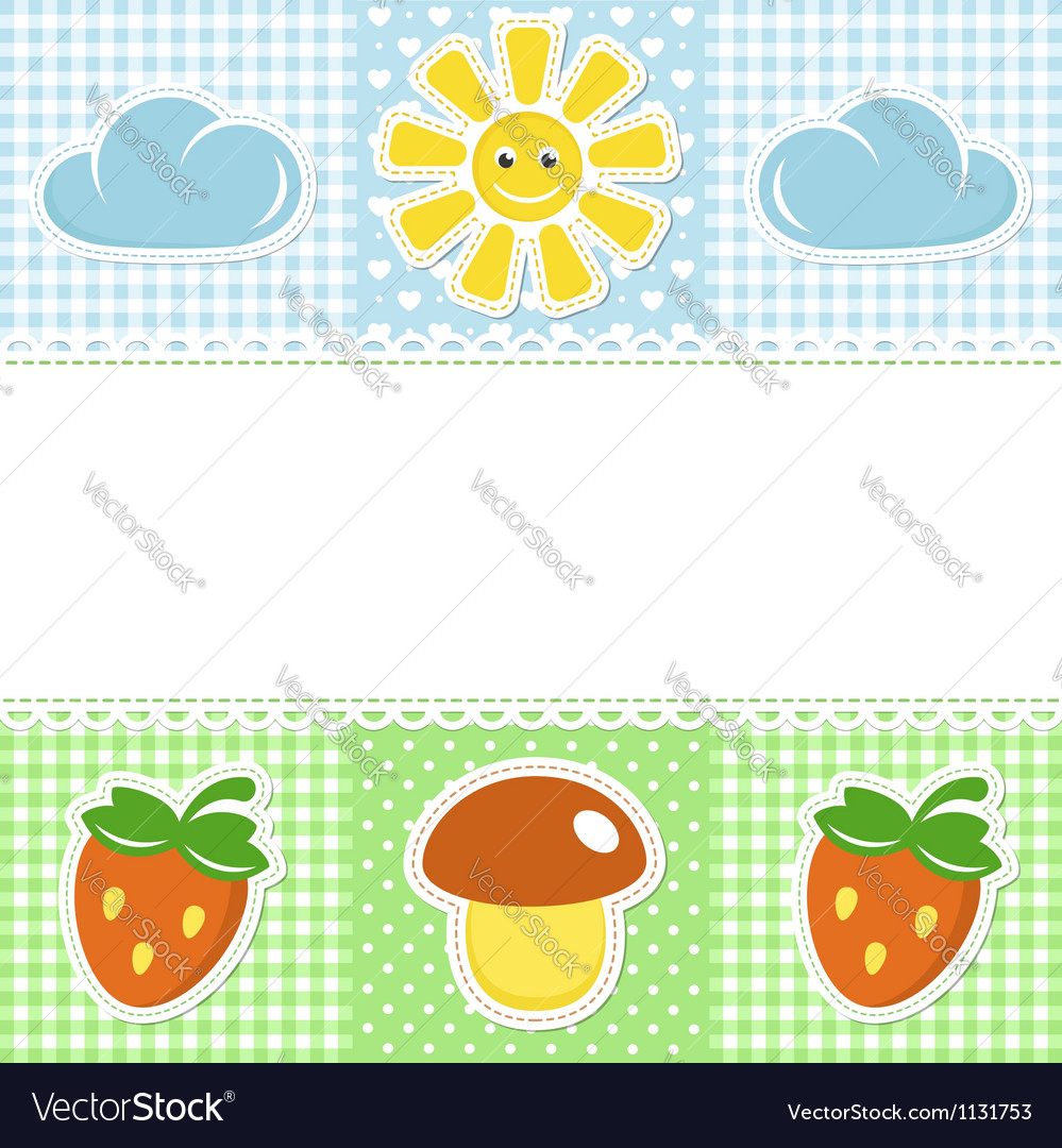 Lace border with summer icons vector | Price:  Credit (USD $)