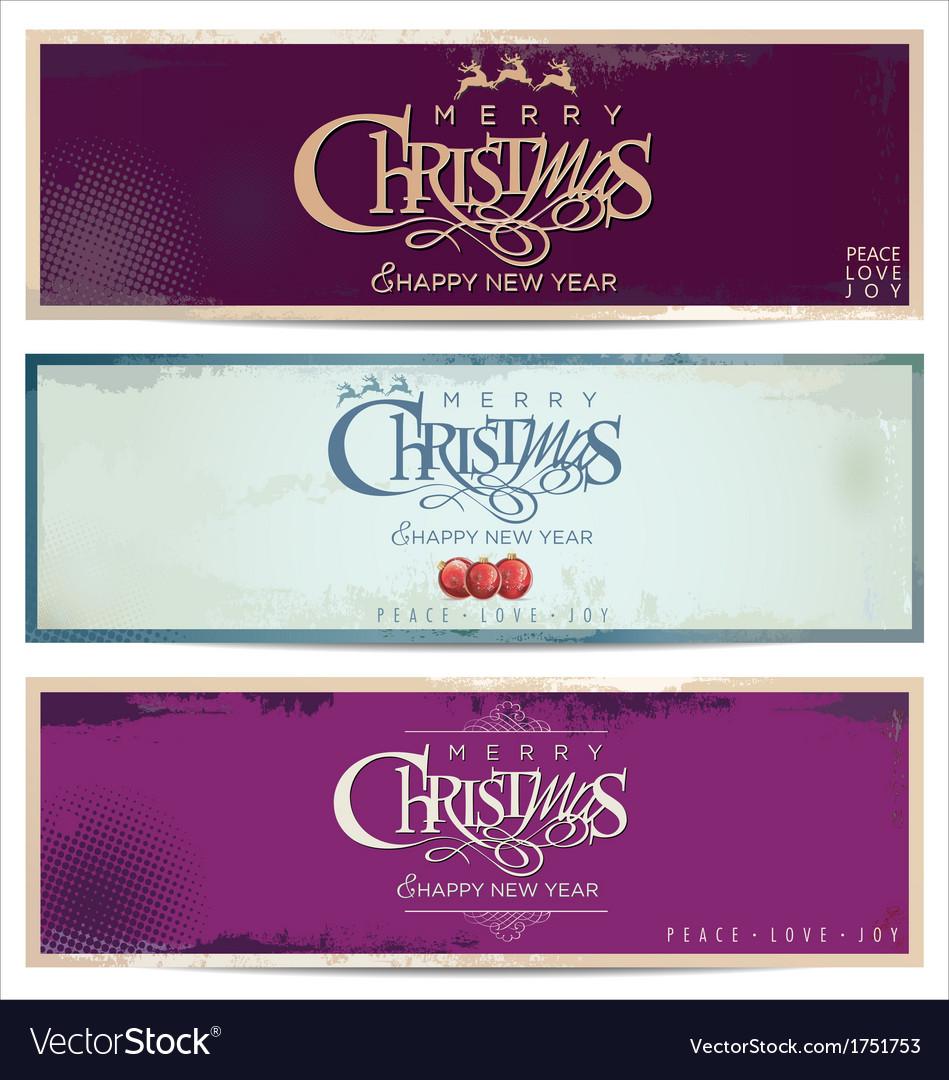 Merry christmas retro banner set vector | Price: 1 Credit (USD $1)