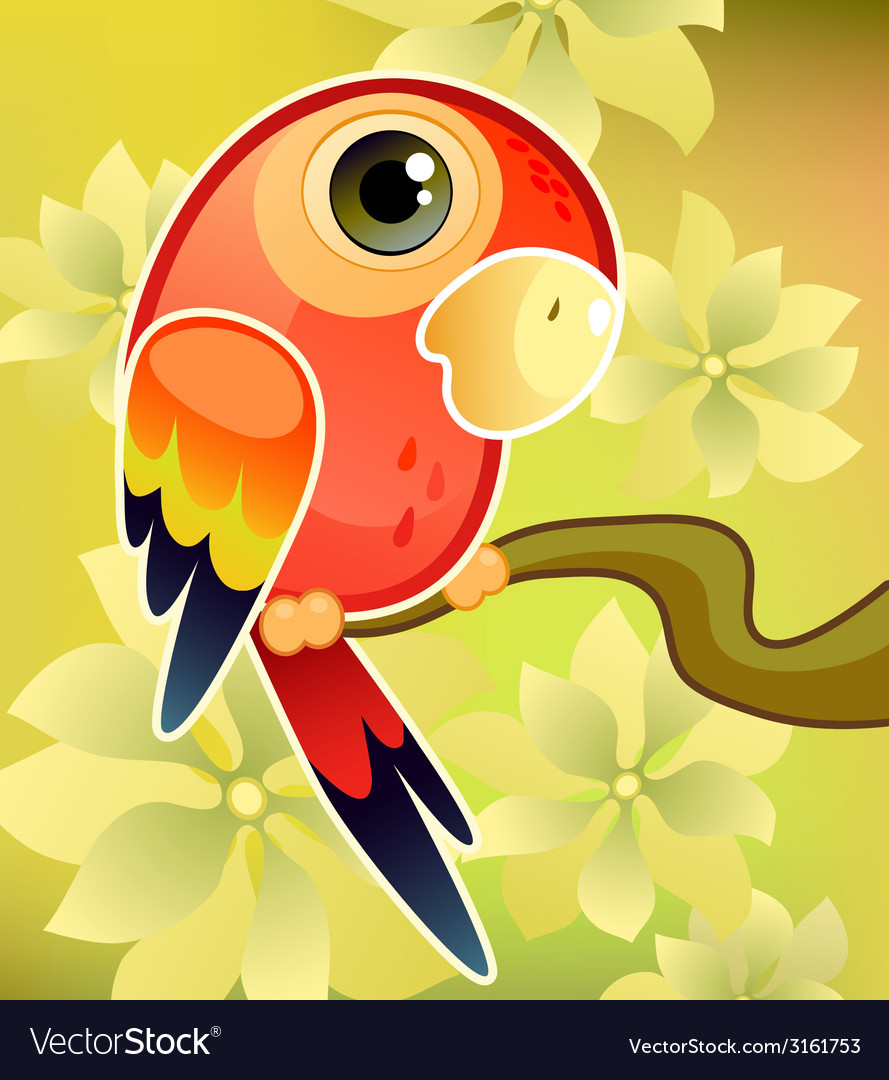 Red parrot vector   Price: 1 Credit (USD $1)