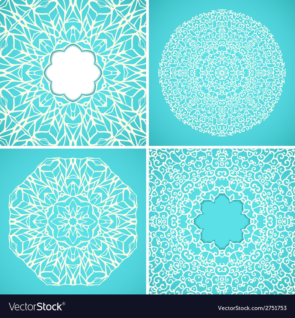 Set of 4 round kaleidoscopic lace ornamental vector | Price: 1 Credit (USD $1)