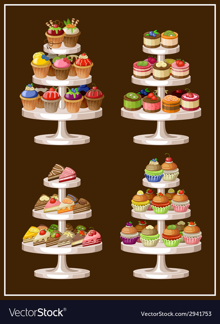 Set of sweets on plates vector | Price: 1 Credit (USD $1)