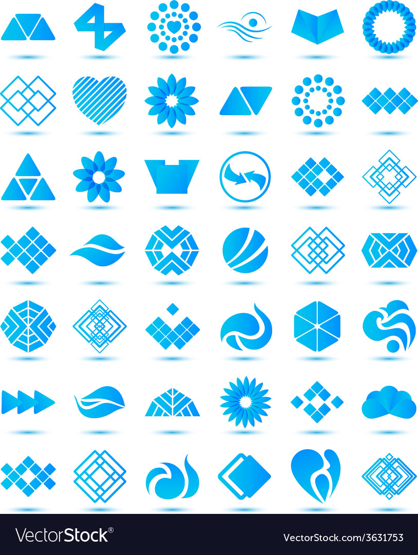 Set of various geometrical abstract icons signs vector | Price: 1 Credit (USD $1)