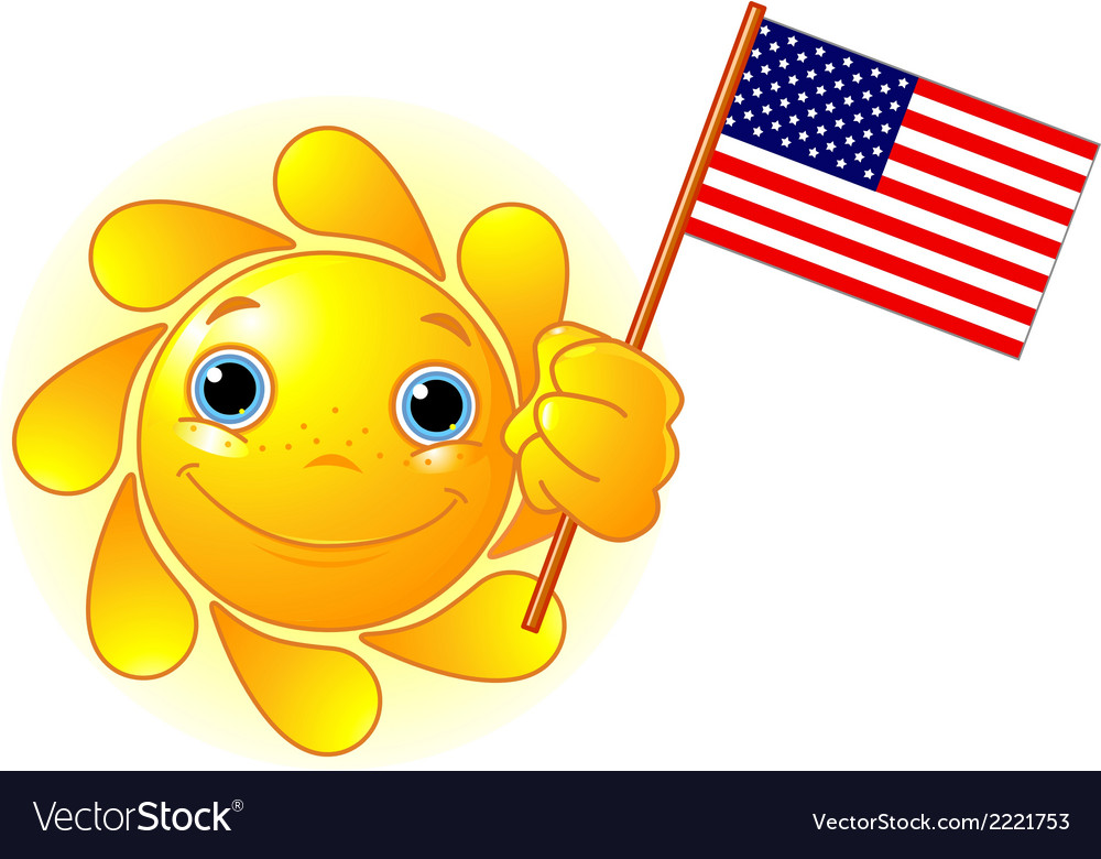 Summer sun with american flag vector | Price: 1 Credit (USD $1)