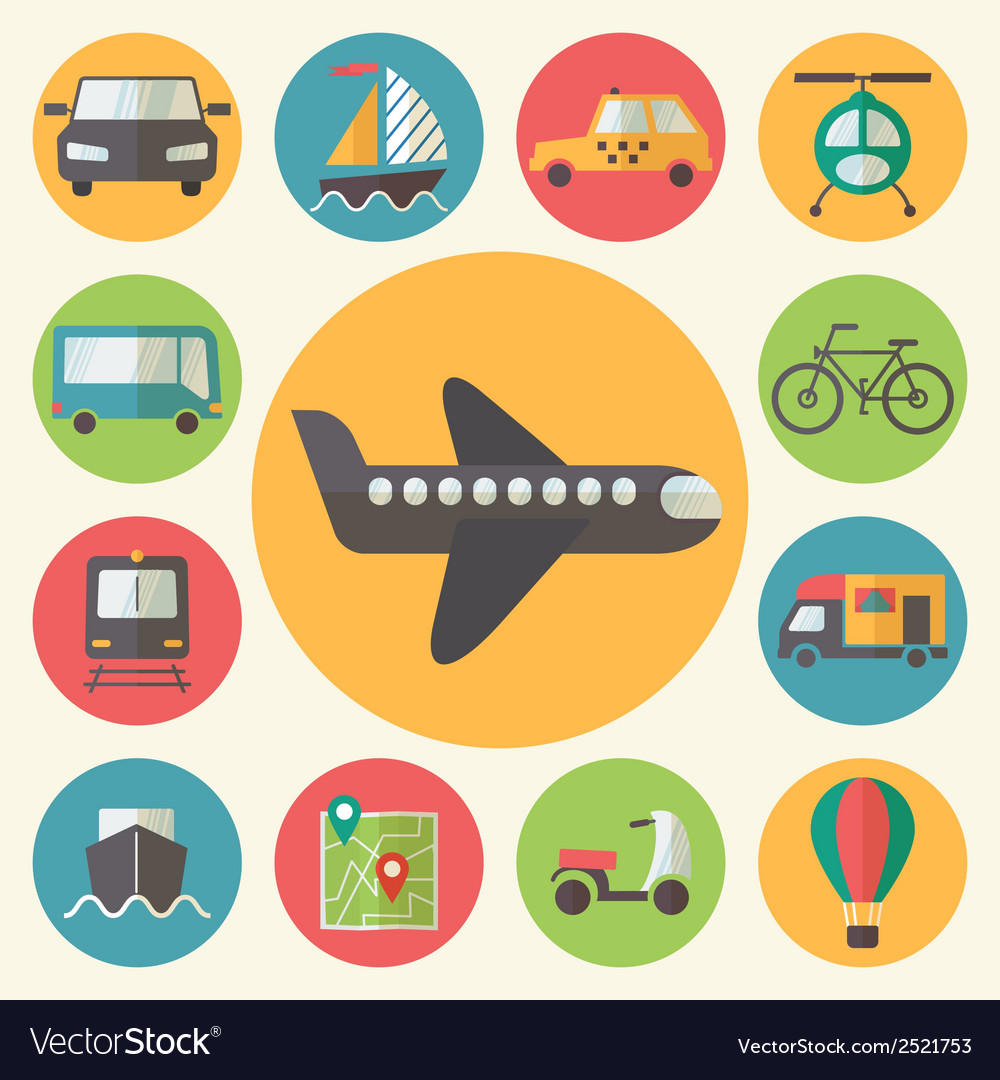 Transportation icons set flat design vector | Price: 1 Credit (USD $1)