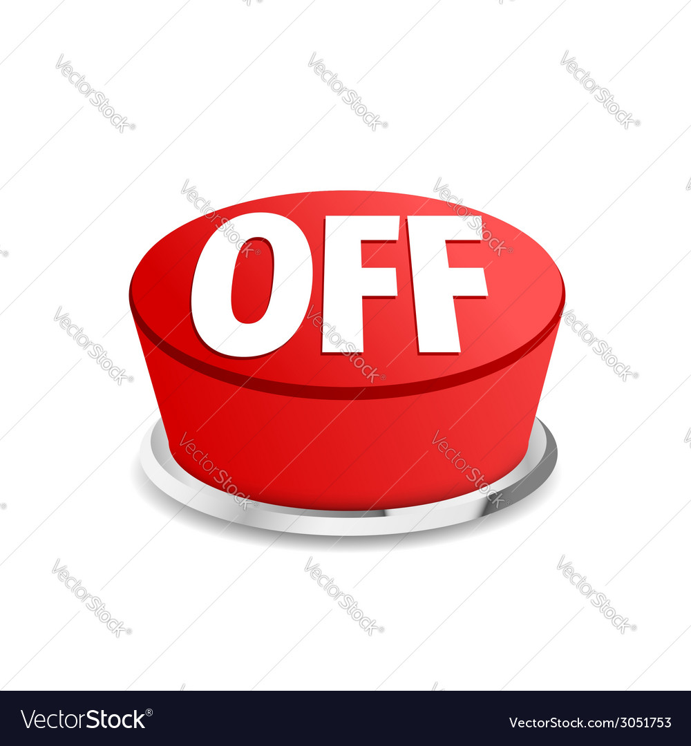 Turn off button sign template red vector | Price: 1 Credit (USD $1)