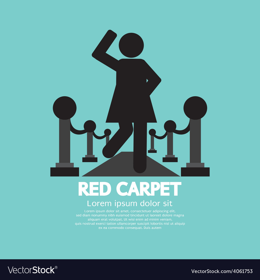Woman walking on red carpet symbol vector | Price: 1 Credit (USD $1)