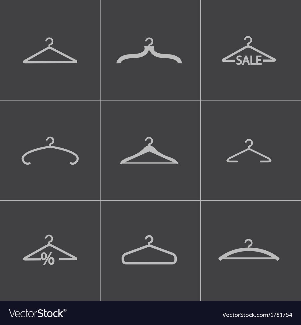 Black hanger icons set vector | Price: 1 Credit (USD $1)