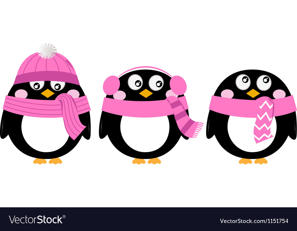 Cute pink cartoon penguin set isolated on white vector | Price: 1 Credit (USD $1)