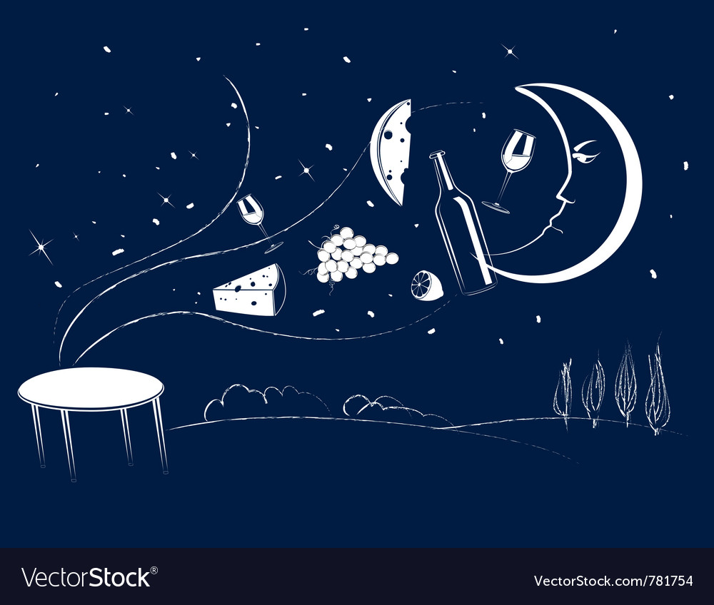 Dinner in the moonlight vector | Price: 1 Credit (USD $1)